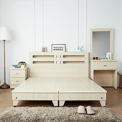 H-D-藍儂田園風5尺4件組-床頭-床底-二抽櫃