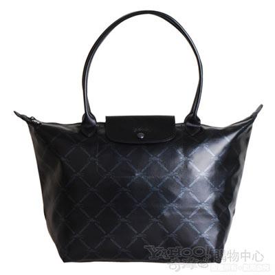 Longchamp 經典LM系列60週年慶附刻板格紋手提肩背包(大.黑)
