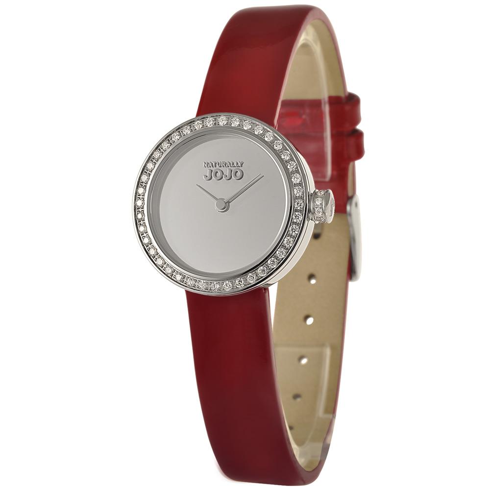 NATURALLY JOJO 絕美后冠晶鑽時尚腕錶-銀x紅錶帶/27mm