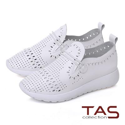 TAS 牛皮打洞造型繫繩休閒鞋-焦點白