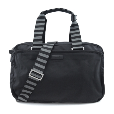 agnes b.霧面鐵牌雙色提把旅行袋(小/黑)