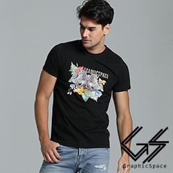 個性雙豹花朵圖案磨毛水洗T恤(共三色)-GraphicSpace