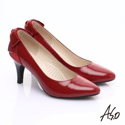A.S.O 甜蜜樂章 全真皮後跟蝴蝶結尖楦高跟鞋 紅