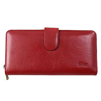 Sika義大利時尚真皮拉鍊壓扣長夾A8251-04魅惑紅