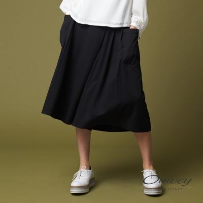 OUWEY歐薇 都會簡約休閒寬褲(黑)-動態show