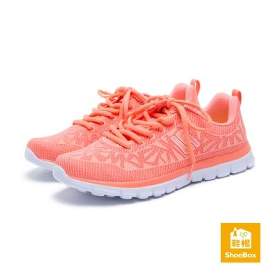 達芙妮DAPHNE ShoeBox系列 休閒鞋-網布綁帶幾何運動休閒鞋-橘
