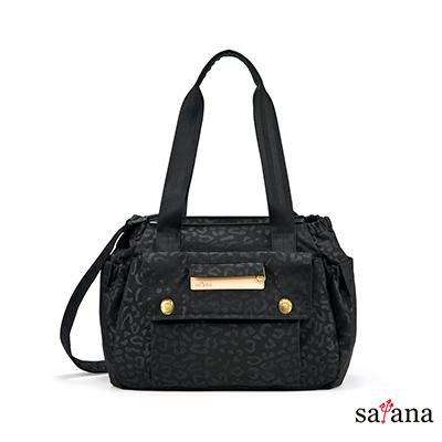 satana - MAMA 多功能托特包 - 黑色豹紋