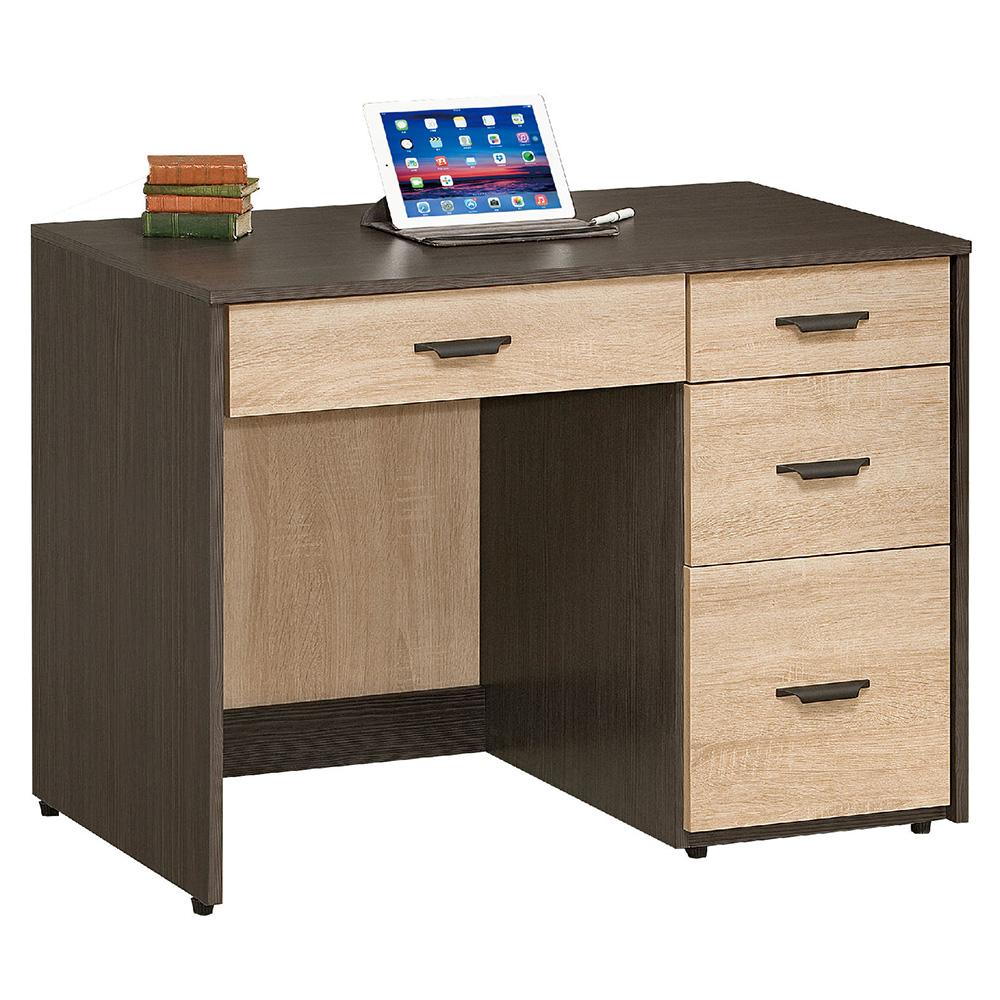 AT HOME-瑪莎3.2尺鐵刀橡木紋四抽書桌