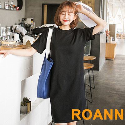 圓領素面針織短袖洋裝 (黑色)-ROANN