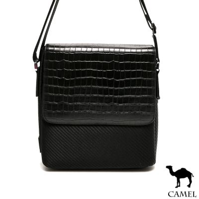 CAMEL - 奢華雅緻配牛皮荔枝紋休閒直式側背包