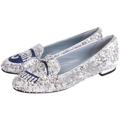 Chiara Ferragni Flirting 眨眼圖案立體縫製亮片樂福鞋(銀色)