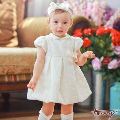 Annys皇室高級訂製蕾絲公主袖緞質禮服*7204米白