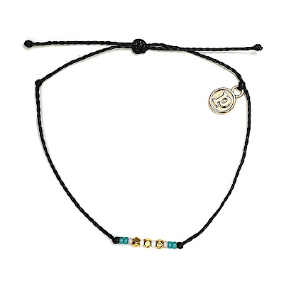 Pura Vida 美國手工 金玲瓏彩珠系列 黑色臘線衝浪手鍊手環