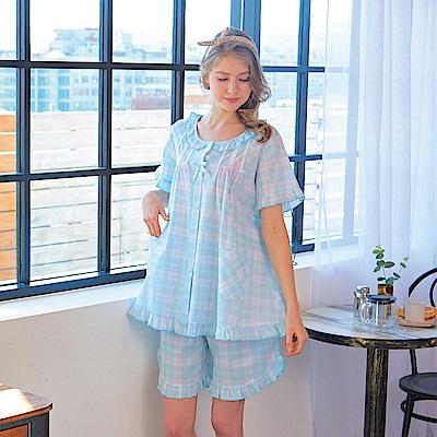 睡衣 精梳棉平織薄短袖兩件式睡衣(R77021-5淺水藍格紋) 蕾妮塔塔