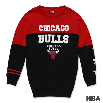 NBA-芝加哥公牛隊撞色印花圓領長版T恤-黑色(女)