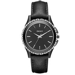 DKNY 絕代魅力晶鑽都會腕錶-黑/32mm