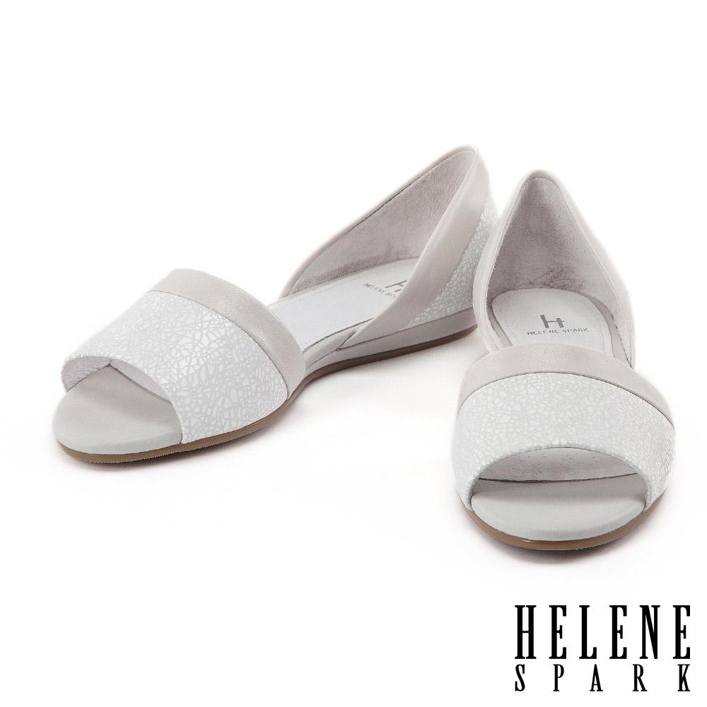 平底鞋 HELENE SPARK 隨性摩登幾何羊皮魚口平底鞋-米