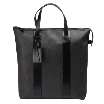 FENDI 經典滿版FF LOGO 防刮PVC拉鍊手提包(黑色)