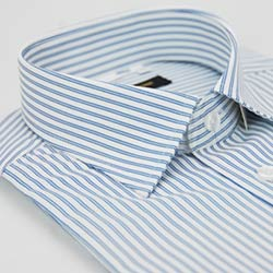 金‧安德森 藍色寬條紋窄版短袖襯衫