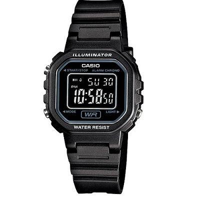 CASIO 黑色炫風方形電子錶(LA- 20 WH- 1 B)-黑面/ 30 . 4 mm