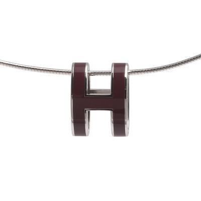 HERMES 經典立體H LOGO簍空橢圓項鍊 (酒紅X銀)