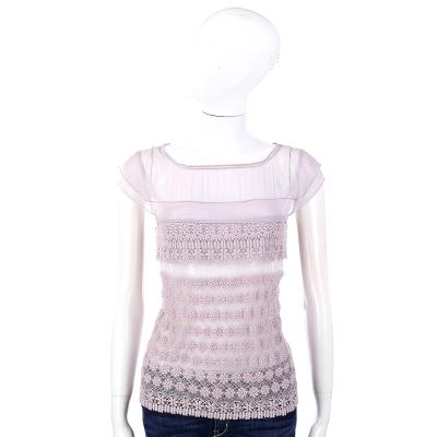 PHILOSOPHY 粉紫色紗質拼接雕花設計短袖上衣
