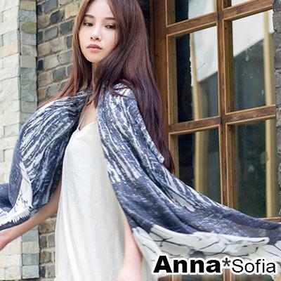 AnnaSofia-流蘇墨印-高密度織毛邊披肩圍巾-藍米系