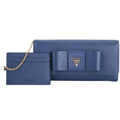 PRADA-Saffiano-浮刻金字蝴蝶結釦式長夾-藍色-附可拆式證夾