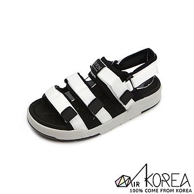 【AIRKOREA】韓國空運樂活夏日人氣熱搜韓星私著魔鬼氈運動感涼鞋 白