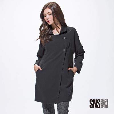 SNS-斜開釦率性長版大衣-1色