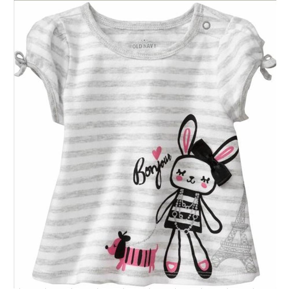 歐美風格設計 小童女童短棉T居家外出 女娃娃 白灰
