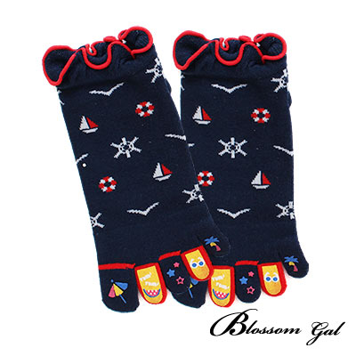 Blossom-Gal日本進口沙灘戲水涼感紗五趾襪