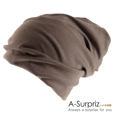 A-Surpriz 氣質兩用素面毛線帽(品味咖)