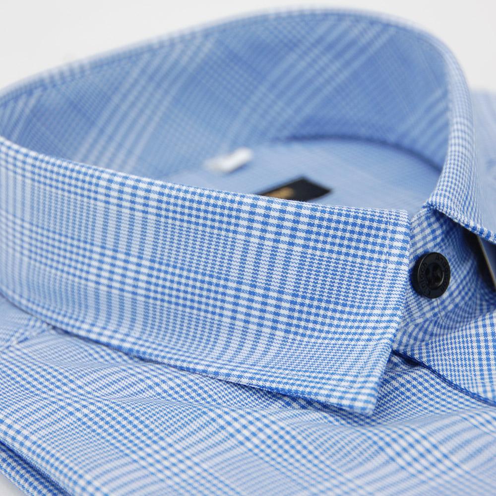金‧安德森 藍色寬格窄版長袖襯衫