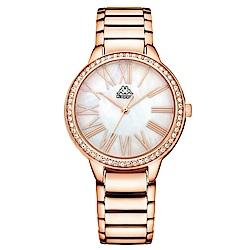 Kappa 閃耀羅馬不鏽鋼時尚腕錶-白x玫瑰金/35mm