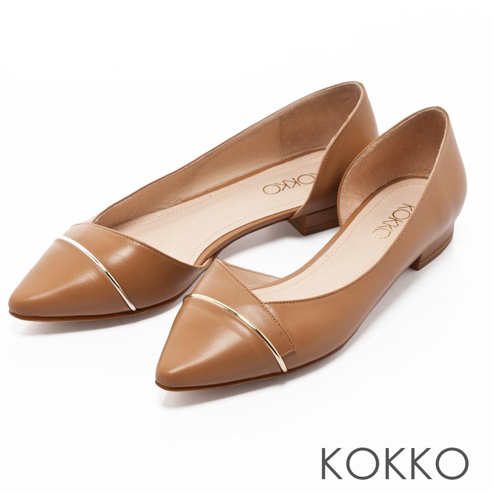 KOKKO都會時尚尖頭金屬環側挖空平底鞋卡其咖