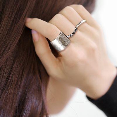 Hera赫拉 寬版刷線玫瑰水鑽關節戒指/開口戒/可調戒(3入組)