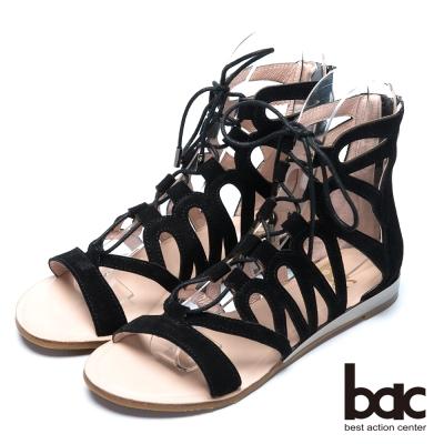 bac歐風時尚 透視裸肌羅馬涼鞋-黑色
