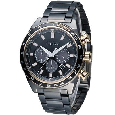 CITIZEN 星辰 極光時尚光動能計時錶(CA4207-53H)-黑x玫瑰金色/42mm