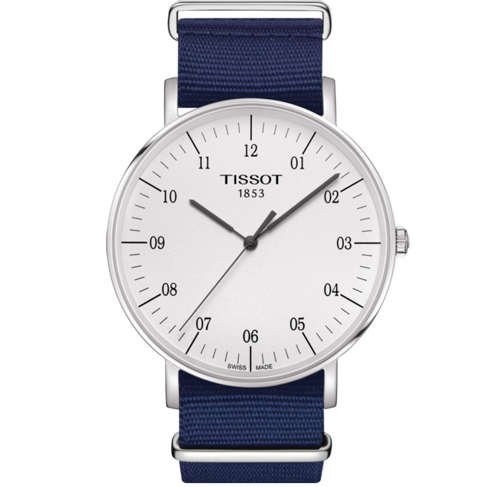 TISSOT 天梭 Everytime 經典雋永腕錶-銀x藍色錶帶/42mm