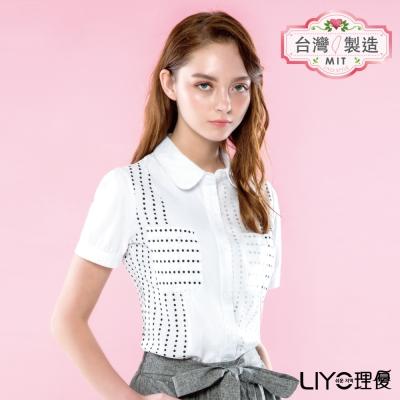LIYO理優襯衫圓點點短袖襯衫(白)