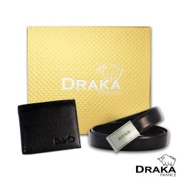 DRAKA 達卡 - 黃金禮盒 真皮皮夾+紳士皮帶-3207