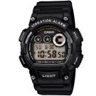 CASIO 超亮LED強悍震動數位運動錶(W-735H-1A)-黑/47mm