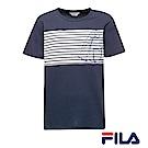 FILA男仕帆船圖騰T恤(學院藍)1TER-1700-NV