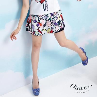 OUWEY歐薇-都會俏麗印花褲裙