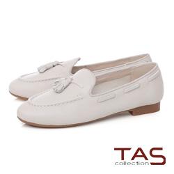 TAS 穿繩流蘇立體縫線樂福鞋-韓系白