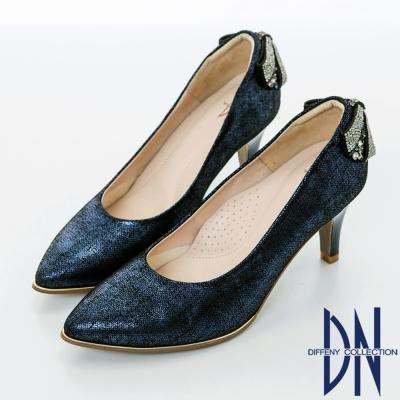 DN 浪漫甜心 優雅蝴蝶結鑽飾尖頭高跟鞋-藍