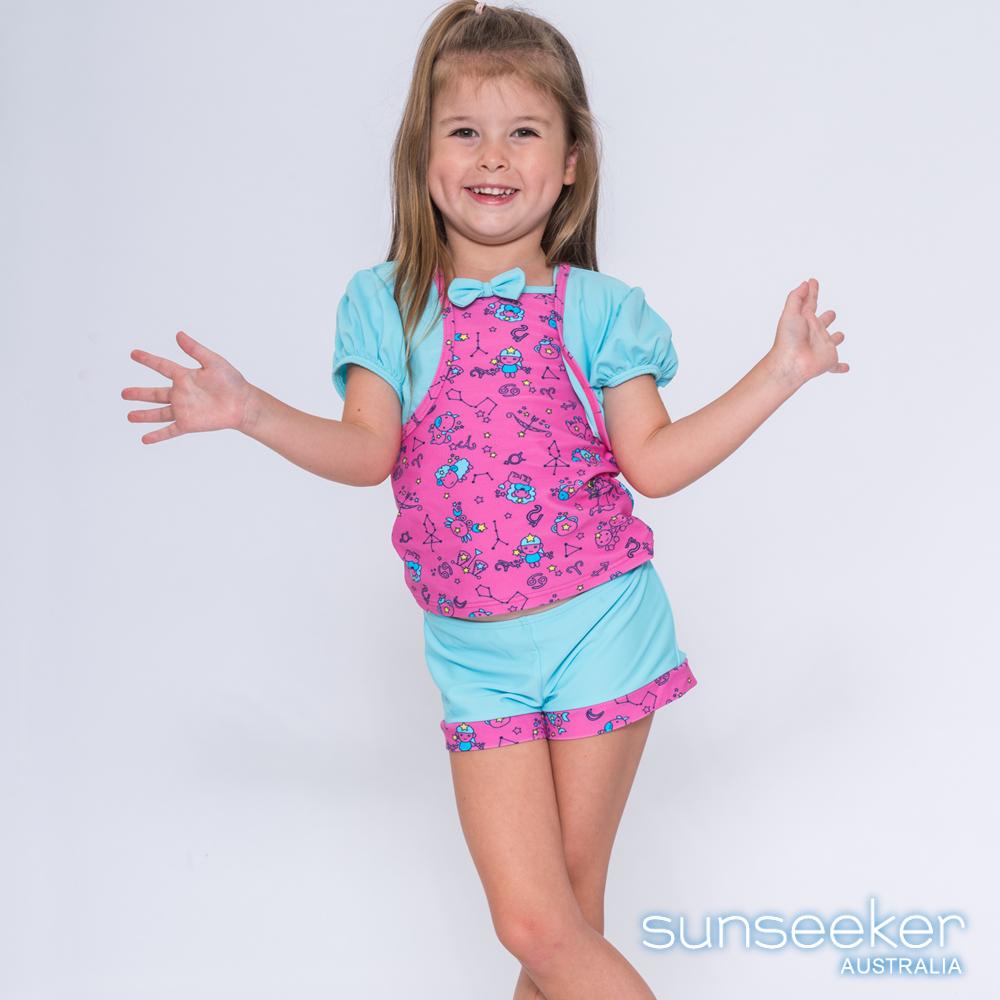 澳洲Sunseeker抗UV防曬粉藍童趣三件式泳衣