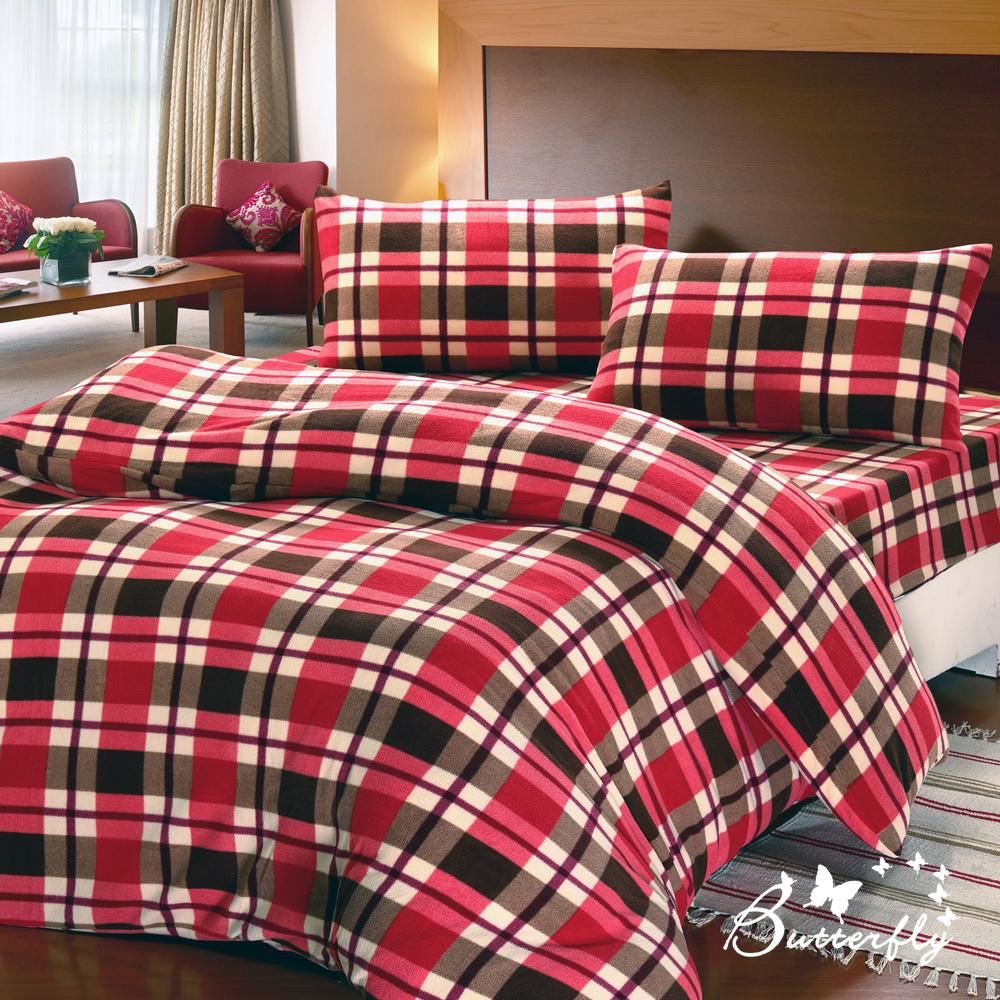 BUTTERFLY  極保暖搖粒絨雙人四件式被套床包組-英格蘭紅