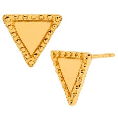 GORJANA 豆豆飾邊 幸運三角形耳環 鑲18K金 Bali Studs